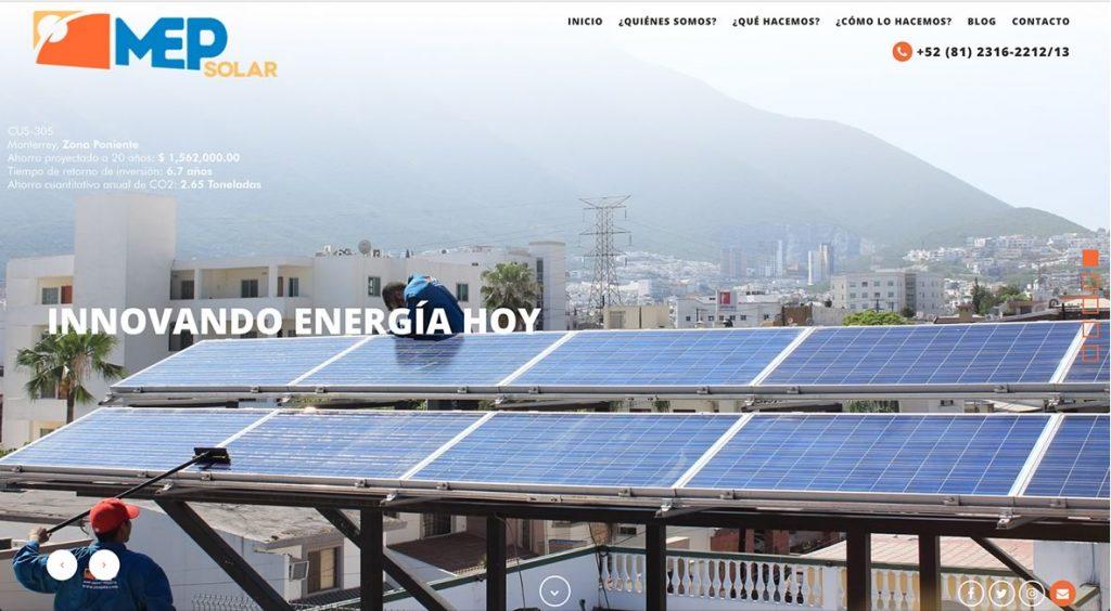 diseño de sitio web para paneles solares