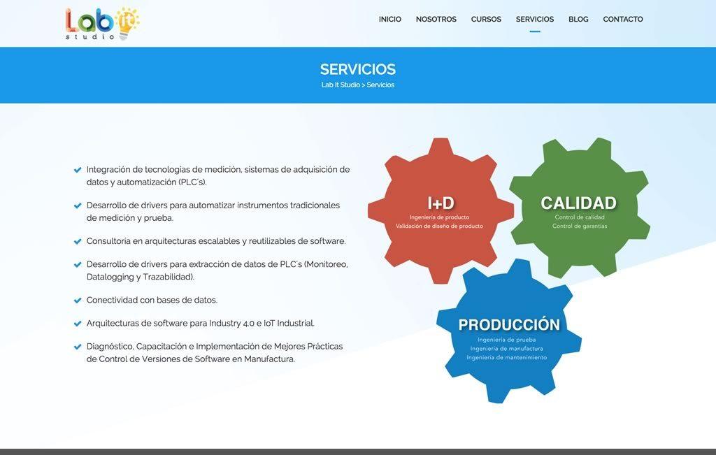 diseño de sitio web para industria