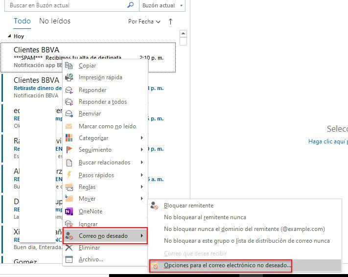 Como activar el filtro de correos no deseados en Outlook