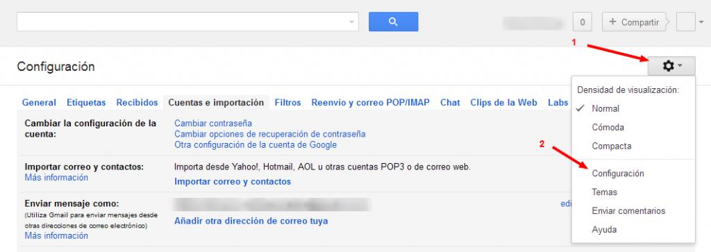 Configurar cuenta de correo externo Gmail