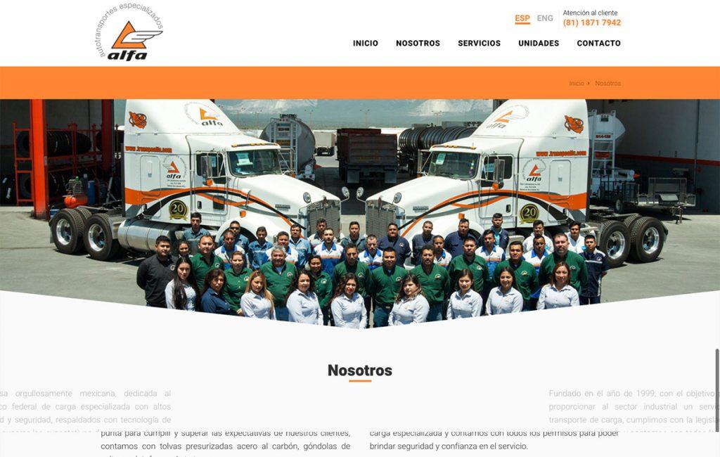 diseño web empresa de transporte