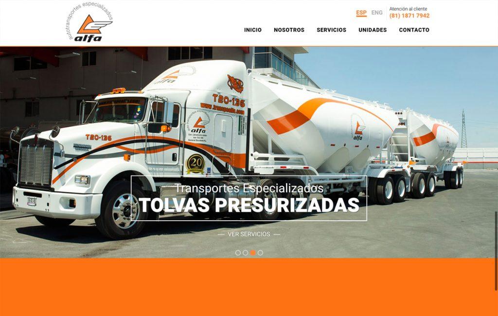 diseño web industrial de transporte