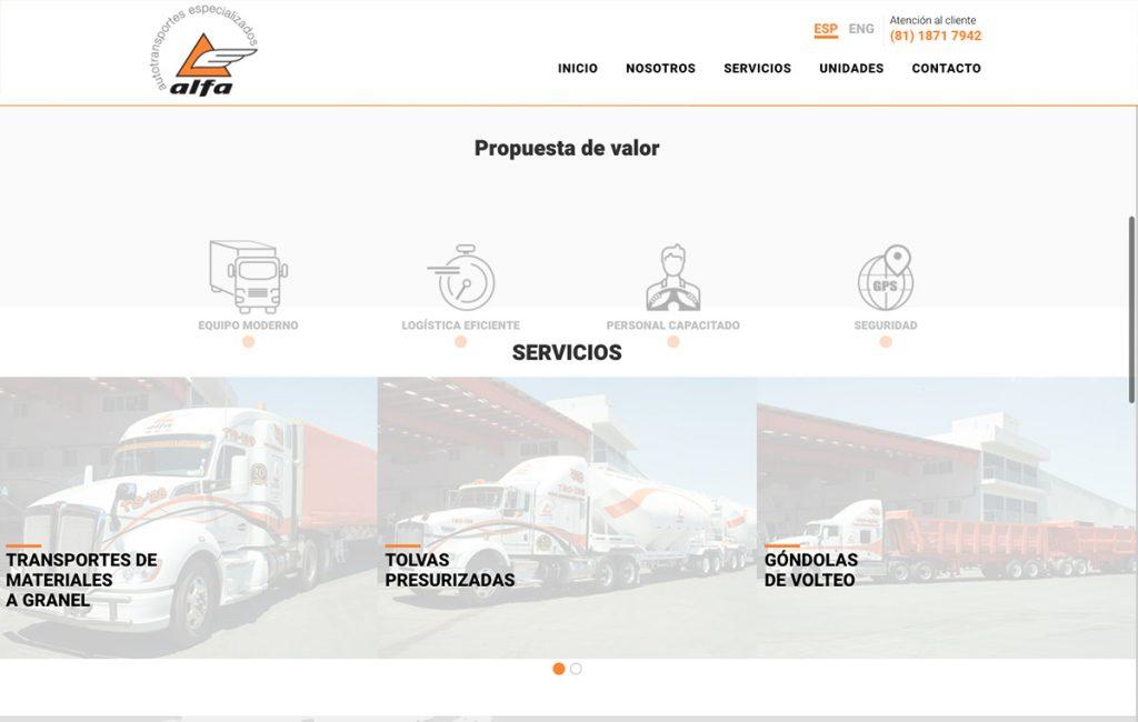diseño web para empresa de transporte